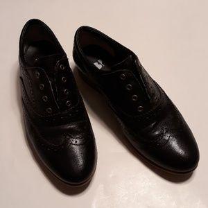 BP black genuine leather oxford loafer flats